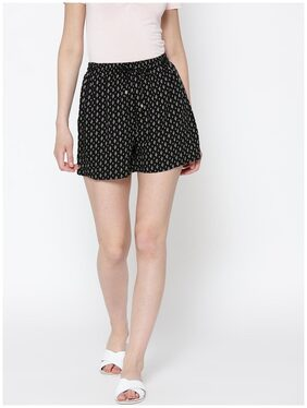Sera Black Printed shorts with waist band