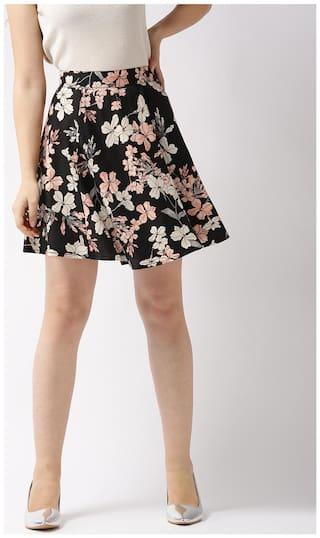 Sera Floral A-line skirt Mini Skirt - Black