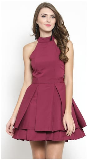 Sera Polyester Solid Fit & Flare Dress Maroon