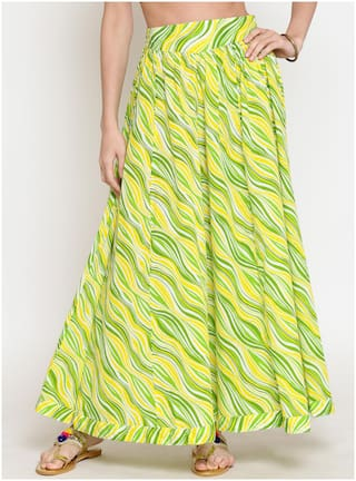 Sera Printed Flared skirt Maxi Skirt - Yellow & Green