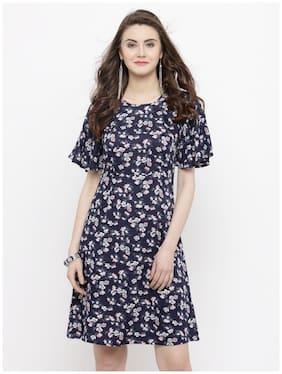 21215435340 Sera Cotton Printed A-line Dress Blue