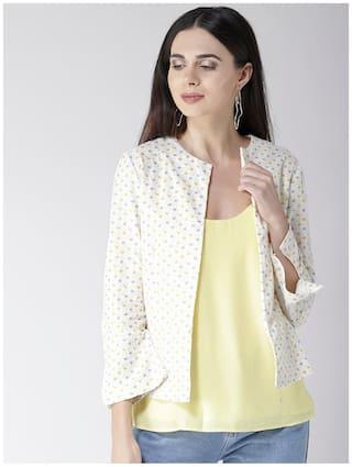 Sera Women Floral Regular FIt Blazer - White