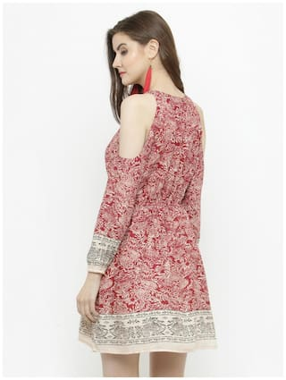and shoulder dress wear Flare Western floral Sera Fit cold Women's print Fq8f7