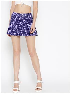 Sera Polka Dots Flared Skirt Mini Skirt - Blue
