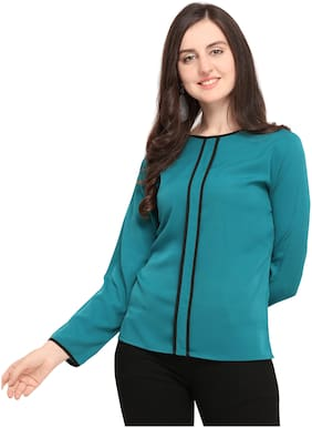 Serein Women Crepe Solid - Blouson top Blue