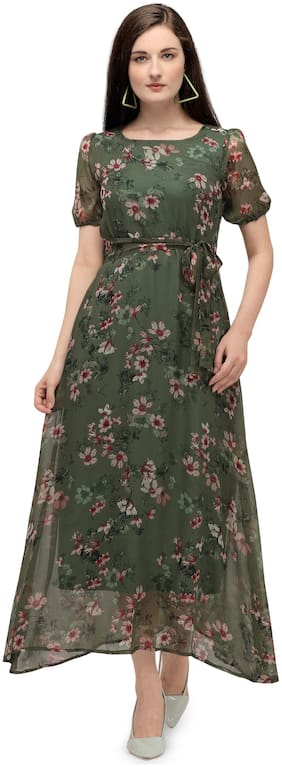Serein Green Floral Maxi dress