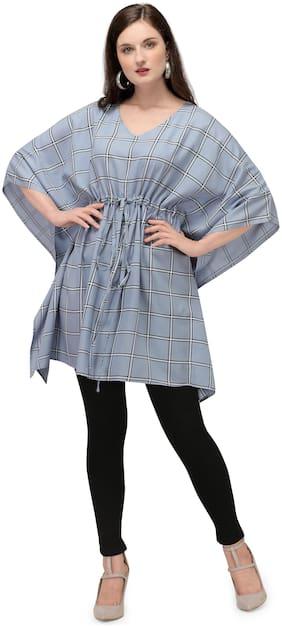 Serein Women Blue Checkered Kaftan Kurta