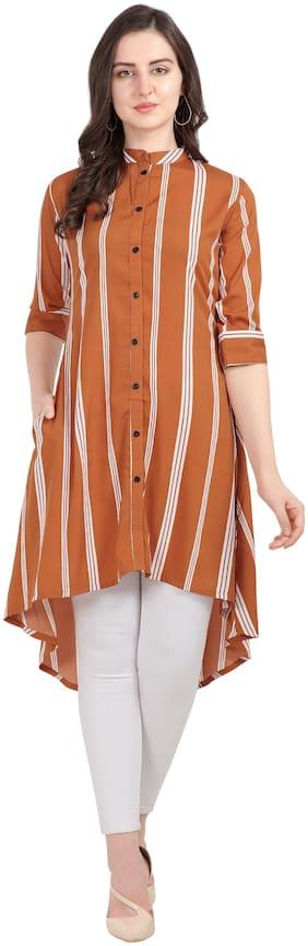 Serein Crepe Striped Orange Kurti Women
