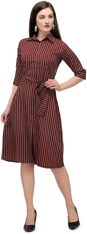 Serein Maroon Striped Fit & flare dress