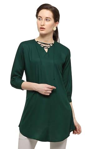 Serein Women Green Solid Regular Kurti