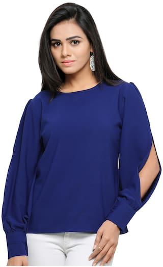 05675f76f06427 Buy Serein Women Crepe Solid - Blouson Top Blue Online at Low Prices ...