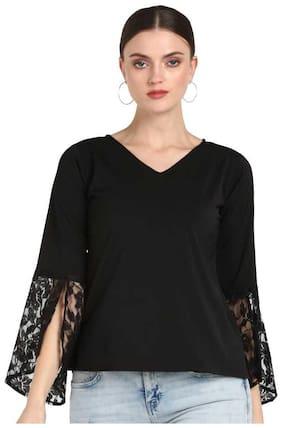 Serein Women Solid Regular top - Black