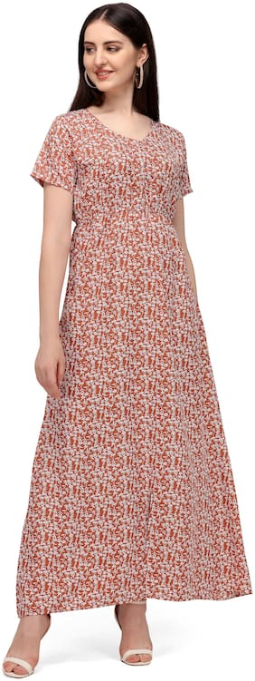 Serein Women's Maxi Dress (Light Pink Floral Printed Crepe Dress with Elasticated Waist & V-Neck)_X-Large