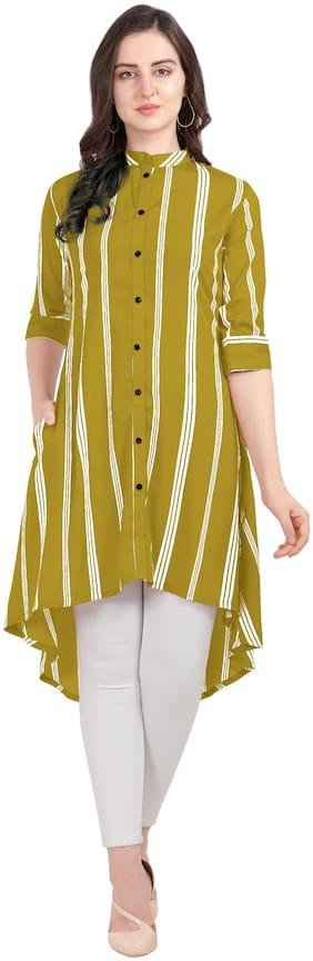 Serein Women Green Striped Regular Kurti