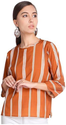 Serein Women Striped Blouson top - Orange