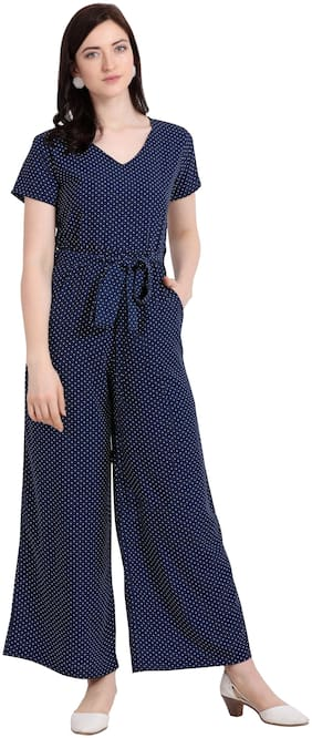 Serein Women Navy Blue Crepe Polka Dots Jumpsuit