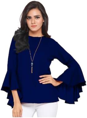 Serein Women Solid Blouson top - Blue