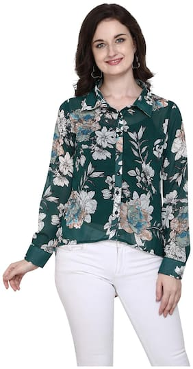 Serein Women Floral Regular top - Green