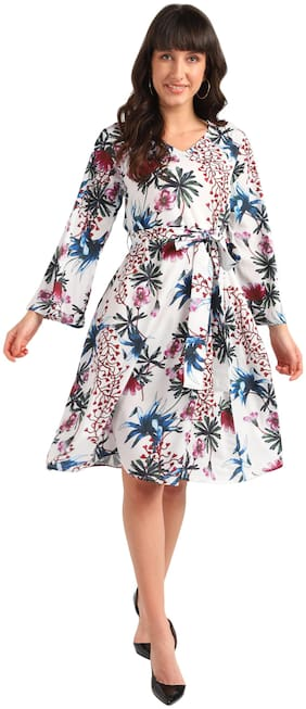 Serein White Floral Fit & flare dress