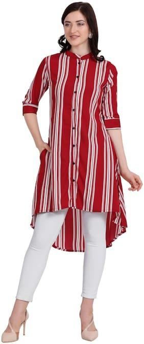 Serein Women's Red Crepe Striped Kurti