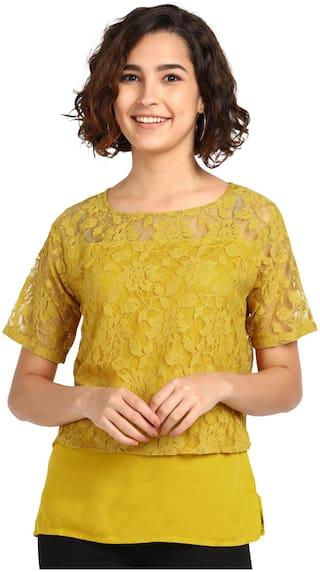Serein Womens Rayon Round Neck Mustard Top