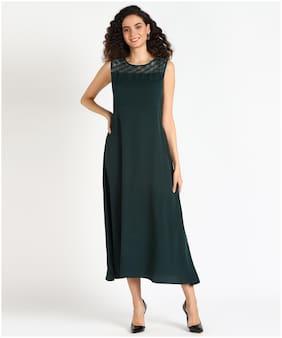 Serein Women Crepe Solid Green A Line Dress