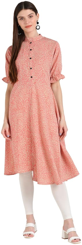 Serein Women Pink Printed Fit and Flare Kurti