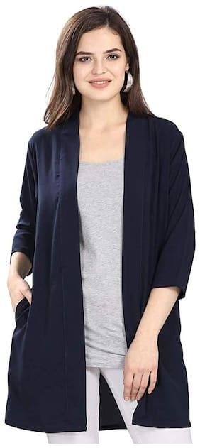 Serein Women Georgette Solid Navy Blue Shrug