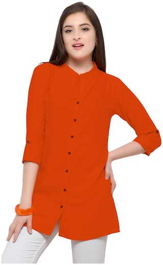 Serein Women Orange Solid Assymetrical Kurti