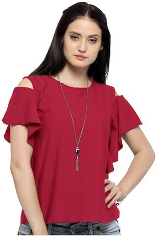 Serein Women Solid Blouson top - Red
