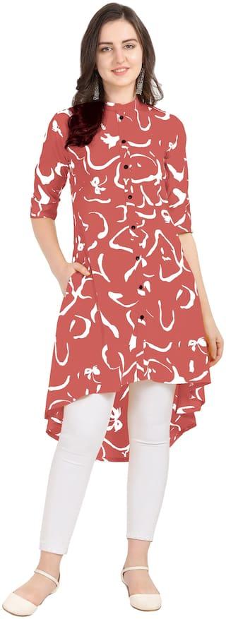 Serein Women Pink Printed Assymetrical Kurti