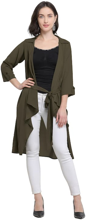 Serein Women Olive Green Solid Crepe Shrug/Long Jacket with Belt and 3/4th Sleeves (Large)