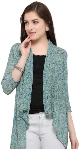 Serein Women Green Colour Printed Georgette Long Shrug/Long Jacket with 3/4 th Sleeves (Small)