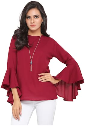 Serein Women Solid Blouson top - Maroon