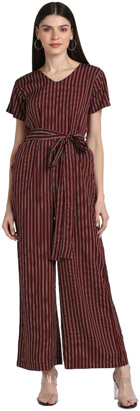 Serein Striped Jumpsuit - Maroon
