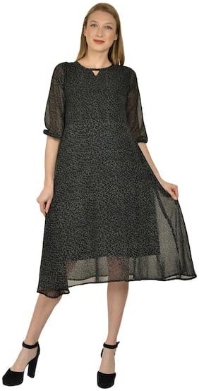 Serein Women's Midi Dress (Black Polka Printed Georgette Midi with Keyhole Neck & 3/4th Elasticated Puff Sleeve) (Black, x_s)