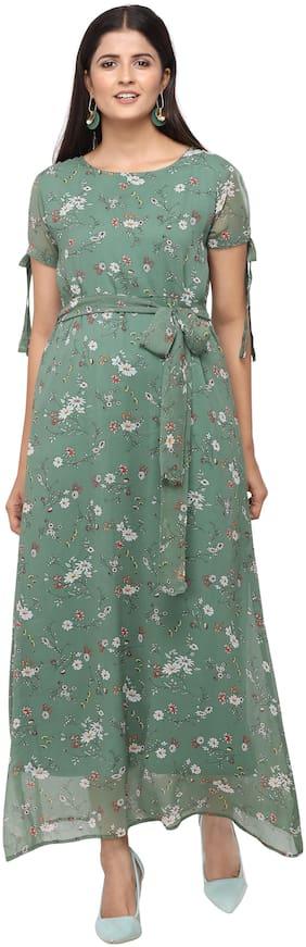 Serein Women Chiffon Floral Green A Line Dress
