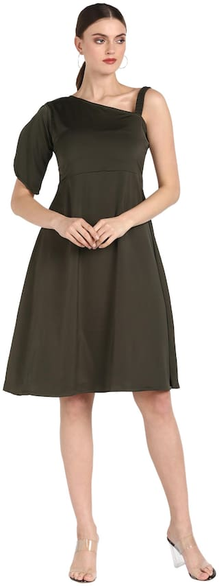 Serein Women Crepe Solid Olive Flared Dress