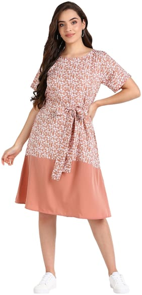Serein Women's Midi dress ( Pink floral printed & solid crepe half half dress with short sleeves)_X-Large