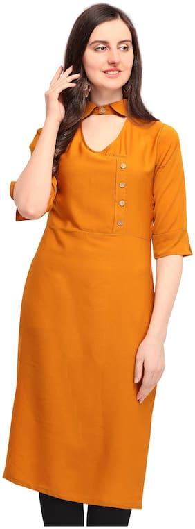 Serein Women Orange Solid Straight Kurta