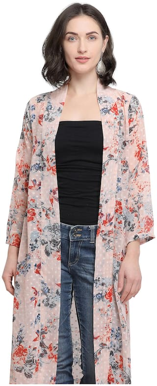 Serein Women Pink Floral Georgette Longline Shrug/Jacket with Full Sleeves (Small)