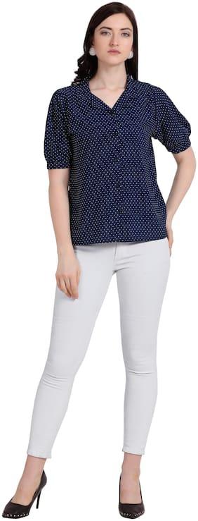 Serein Women Navy Blue Crepe Polka Dots Regular Top