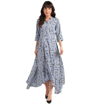 Serein Blue Floral Fit & flare dress