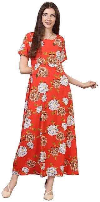 Serein Women Crepe Floral Orange A Line Dress