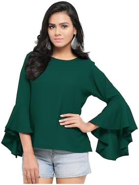 Serein Women Solid Blouson top - Green