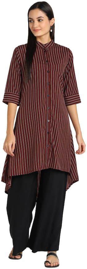 Serein Women Maroon Striped Regular Kurti