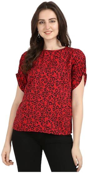 Serein Women Red Crepe Animal Print Regular Top