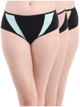 Set of 3 Cotton Mid Waist Hipster Panty with Powernet Panels