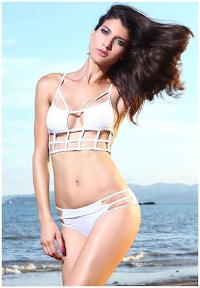 N-Gal Women Halter Strap White Caged Design Cut Out Low Rise Bottom Bikini Sets Swimwear