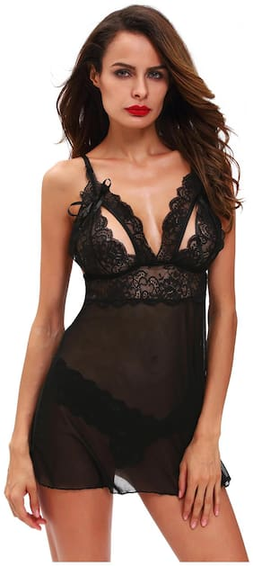 Sexy Honeymoon Lingerie For Women / Ladies and Girls Nightwear Net Babydoll Dress Sleepwear